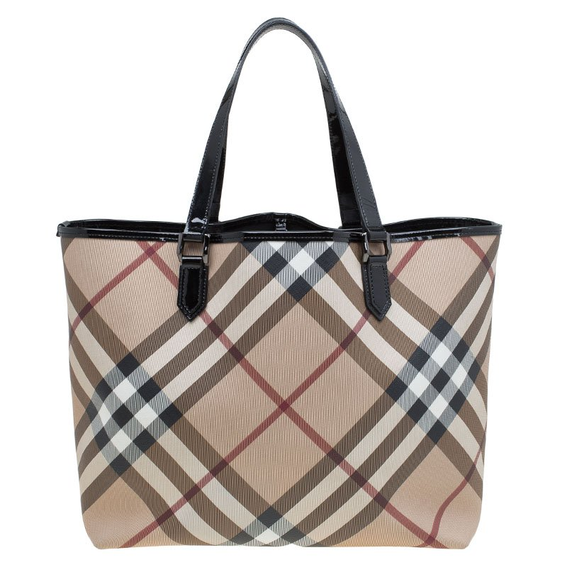 69f516e49f6d Buy Burberry Beige Black Supernova Check Large Nickie Tote 82233 at ...