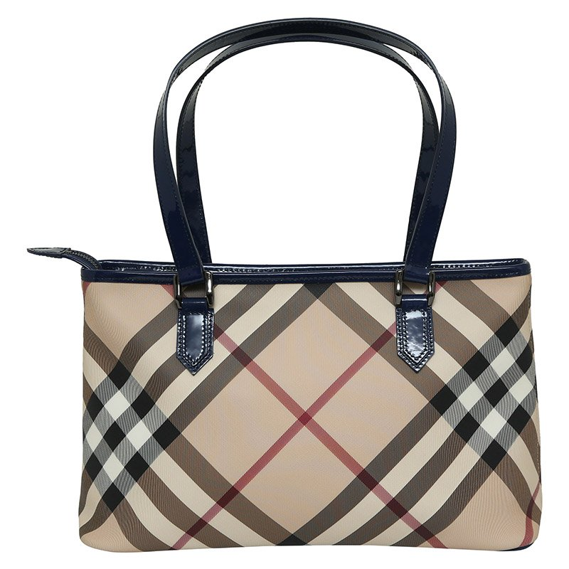 cb6cea83f925 Buy Burberry Blue Supernova Check Coated Canvas Small Nickie Tote ...
