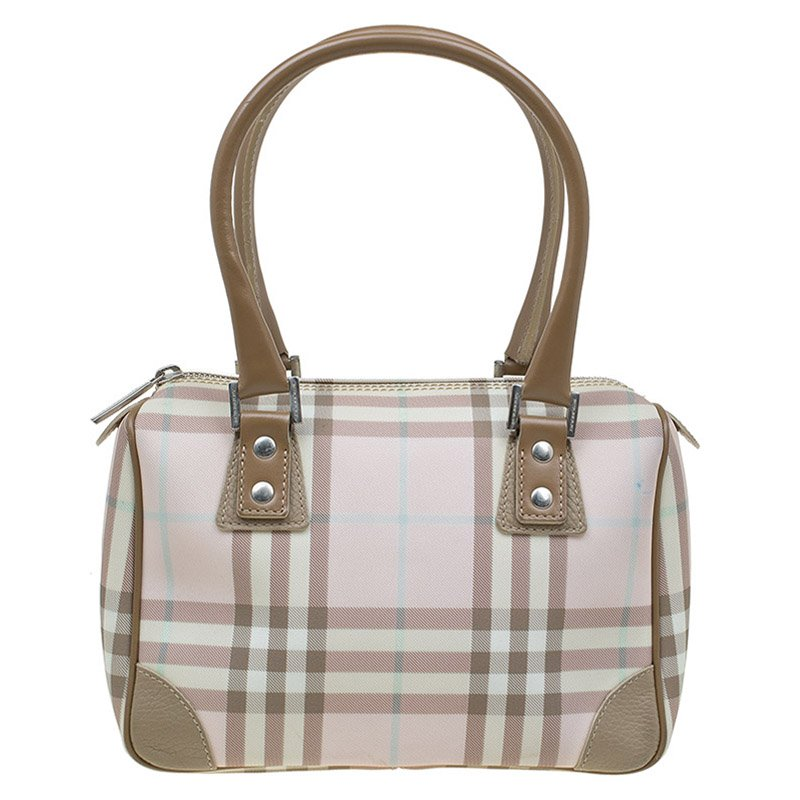 05abe4ff58a7a Buy Burberry Pink House Check Coated Canvas Chester Satchel 86802 at ...