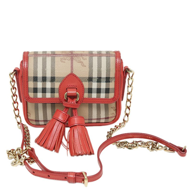 7563b89865d ... Burberry Coral Haymarket Check Coated Canvas/Leather Tassel Mini Chain  Crossbody Bag. nextprev. prevnext