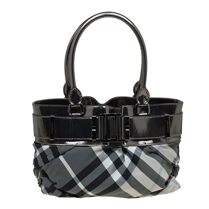 d03f966d0c6c ... Burberry Metallic Grey Beat Check Nylon and Leather Small Healy Tote.  nextprev. prevnext