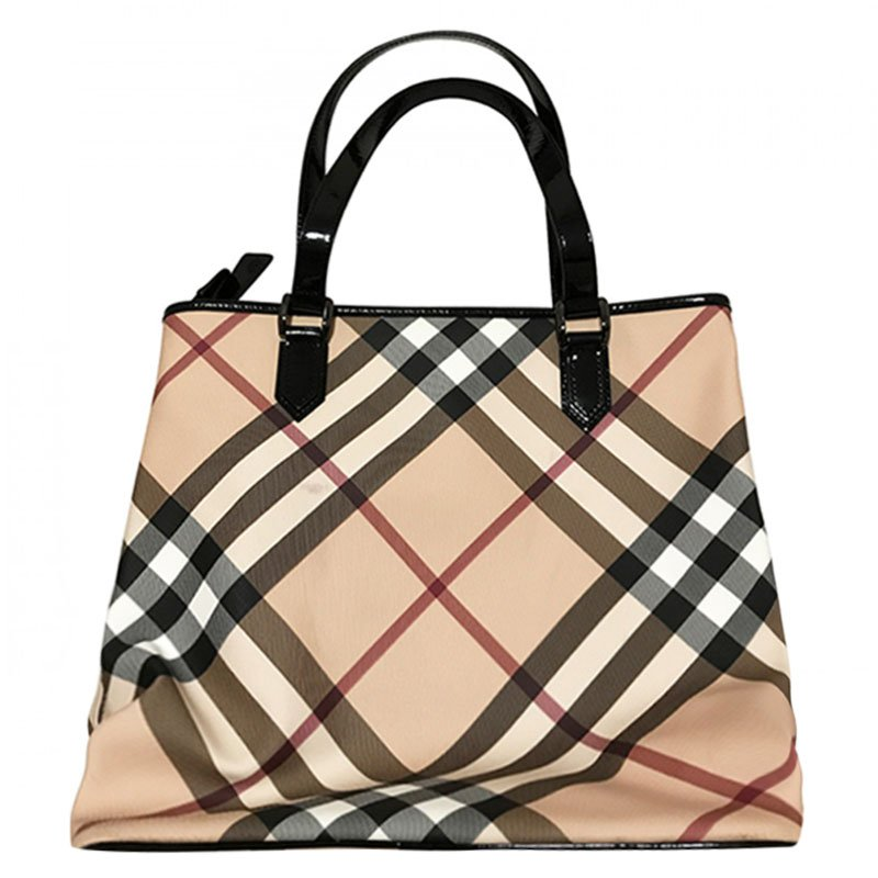 14014e893cb0 ... Burberry Black Nova Check Coated Canvas Large Nickie Tote. nextprev.  prevnext