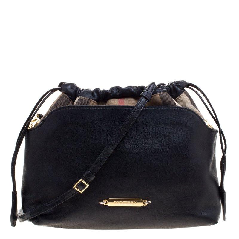 b683cebbf7d ... Burberry Black Leather and House Check Fabric Little Crush Crossbody Bag.  nextprev. prevnext
