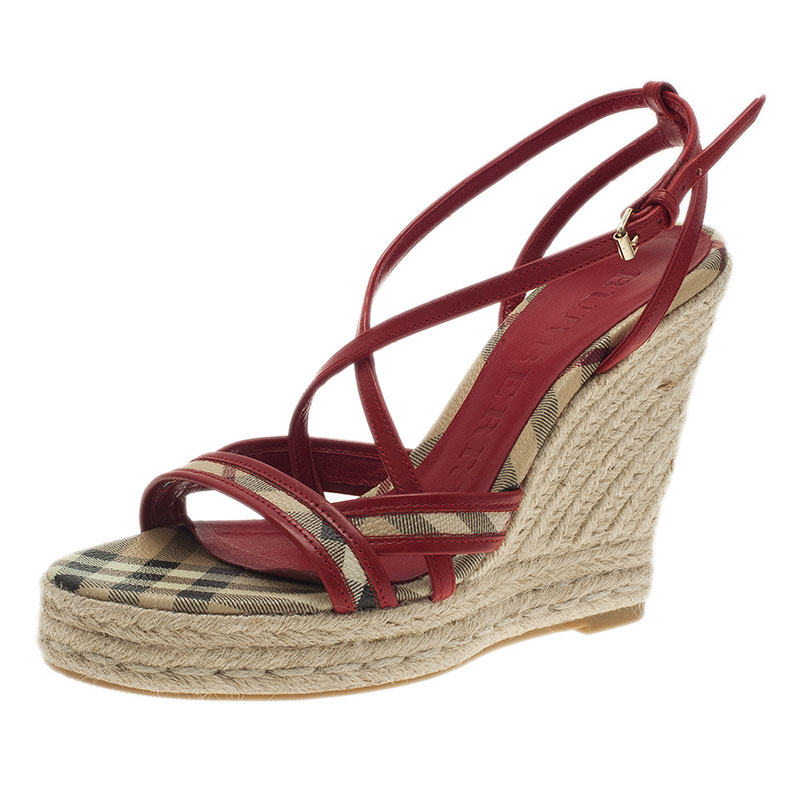 add1cd35ba3 Burberry Red Leather Espadrille Wedge Sandals Size 36