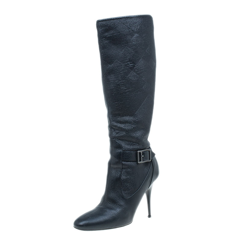 d02e3fb1d475 Buy Burberry Black Jacquard Buckle Heel Knee Boots Size 36.5 42151 at best  price