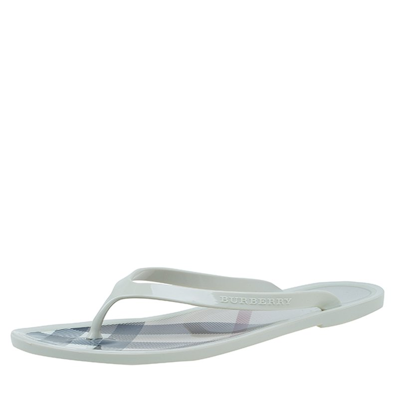 33f8be0673c Buy Burberry Cream Novacheck Rubber Thong Sandals Size 36 57158 at ...