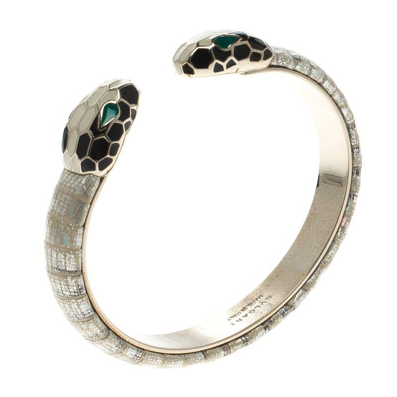 c016d1ec40b Buy Bvlgari Serpenti Enamel Leather Gold Plated Open Cuff Bracelet ...