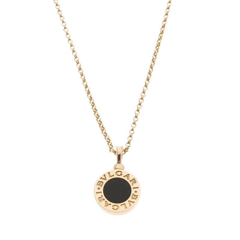 Bvlgari Onyx 18k Yellow Gold Pendant Necklace
