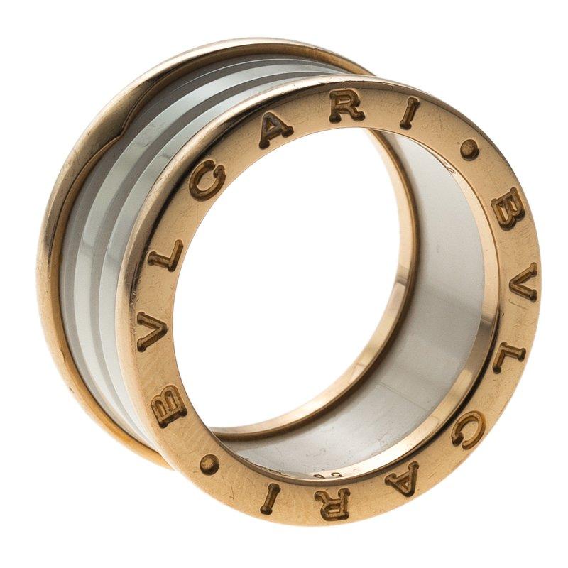 684692840 Buy Bvlgari B.Zero1 4-Band White Ceramic Rose Gold Ring Size 55 ...