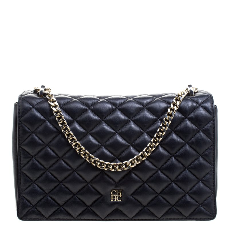 4a2539ed2c9e79 Carolina Herrera Black Quilted Leather Flap Bag 103689 At Best