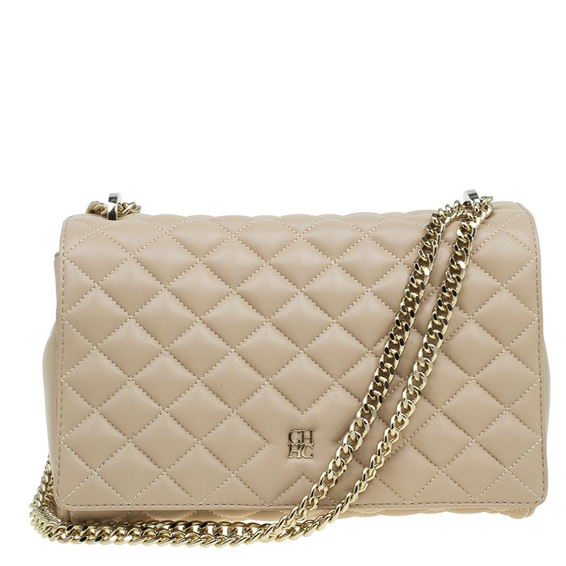 dc7ce180058b Buy Carolina Herrera Cream Quilted Leather Crossbody Bag 47004 at ...