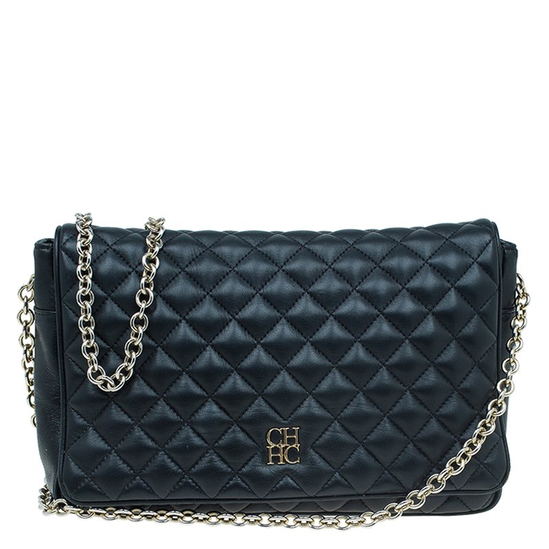 06703496d8a0 Buy Carolina Herrera Black Quilted Leather Flap Bag 54328 at best ...