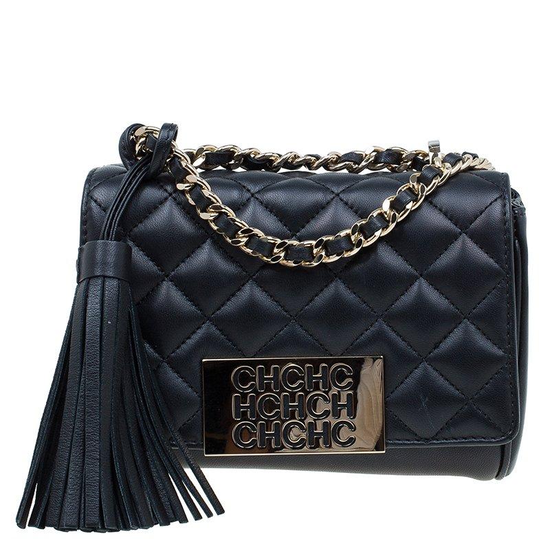 Carolina Herrera Black Quilted Leather Tassel Crossbody Bag