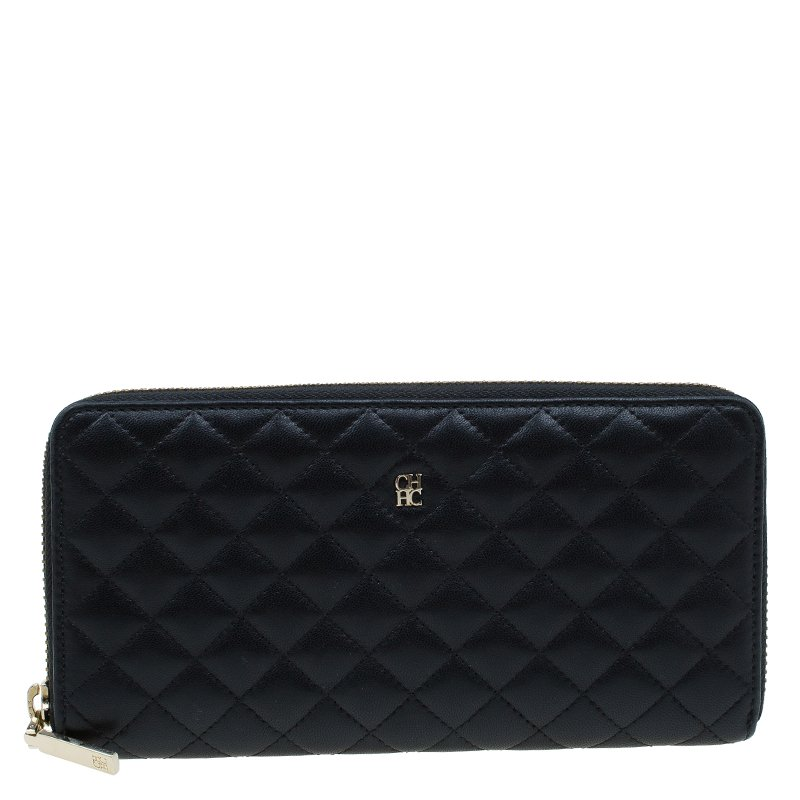 b3faabb1de73 Prevnext. Carolina Herrera Black Quilted Leather Zip Around Wallet 60235.  Gallery. Lyst Michael Kors Hamilton Small Quilted Continental