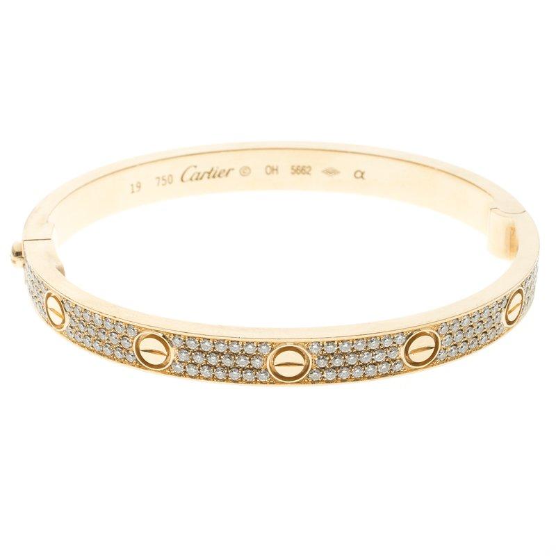 Cartier Love Diamond Paved 18k Yellow