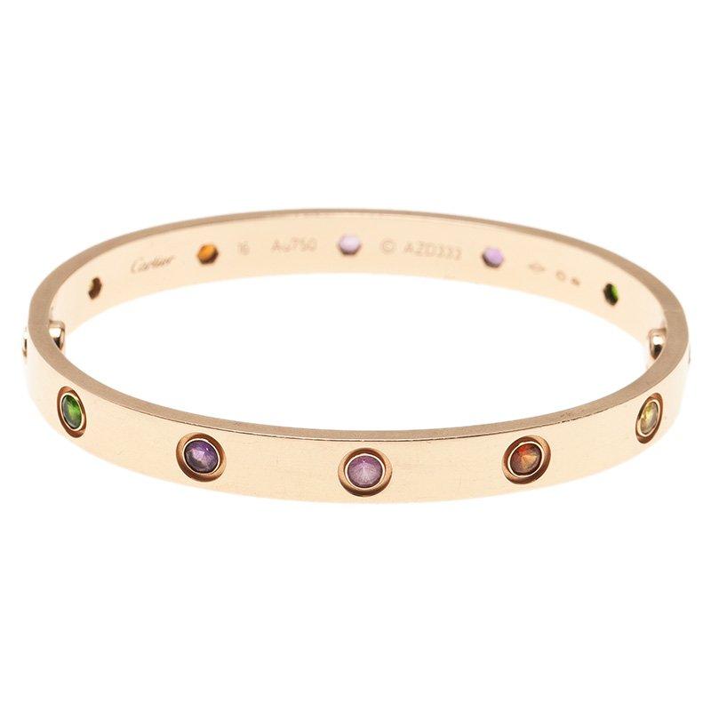 60e258f41c32c Cartier Love Coloured Stones Rose Gold Bracelet 16 cm
