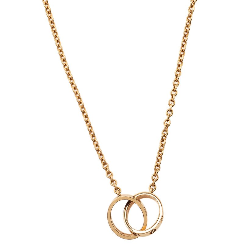 Cartier Love 2 Hoops Rose Gold Chain Necklace