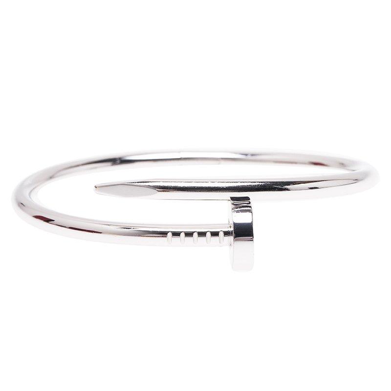 14a65b9fcd697 Cartier Juste Un Clou White Gold Bracelet Size 15