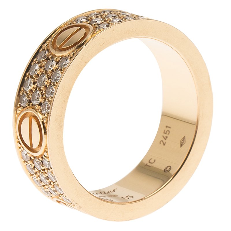 d96624080ada ... Cartier Love Diamond Rose Gold Band Ring Size 55. nextprev. prevnext