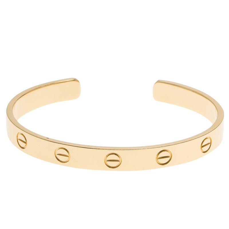 f502d0fc67c30 Cartier Love Open Cuff Yellow Gold Bracelet Size 16