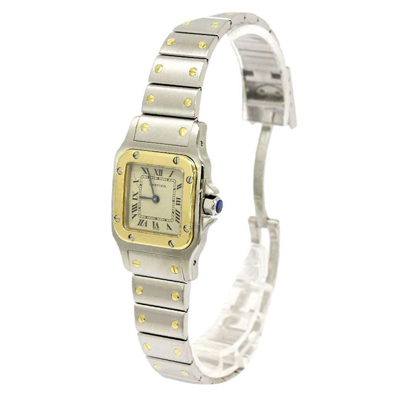 a1ece4e136b3 ... Cartier Silver 18K Yellow Gold and Stainless Steel Santos Galbee Women s  Wristwatch 24MM. nextprev. prevnext