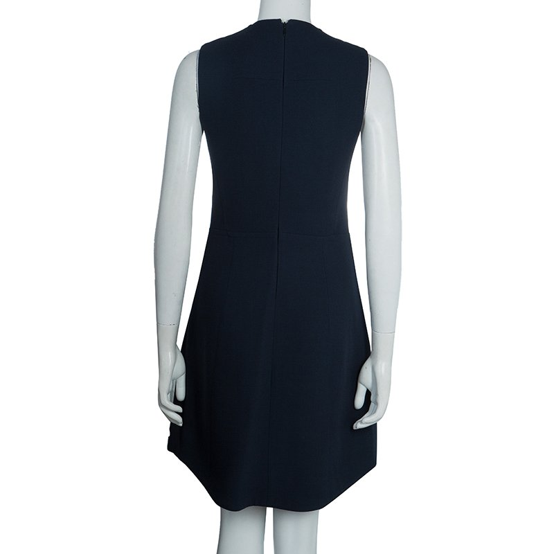 size 40 discount sale new high quality Carven Navy Blue Welt Pocket Detail Blazer Style Sleeveless Dress M