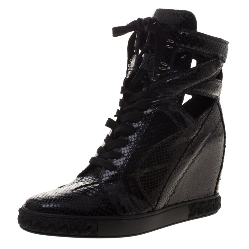 Sneakers 41 Top Out Buy High Wedge Cut Casadei Size Python Black MSzGVqUp