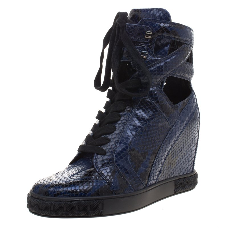 Casadei Two Tone Python Cut-Out Wedge High Top Sneakers Size 39
