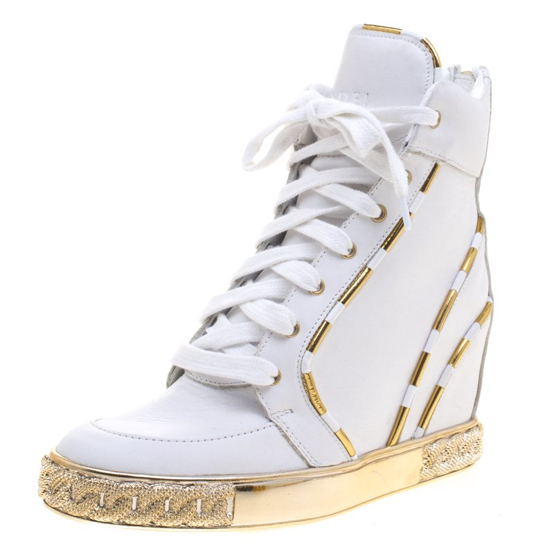 Buy Casadei White and Gold Leather High Top Wedge Sneakers Size 36 ... 2f2a701a7