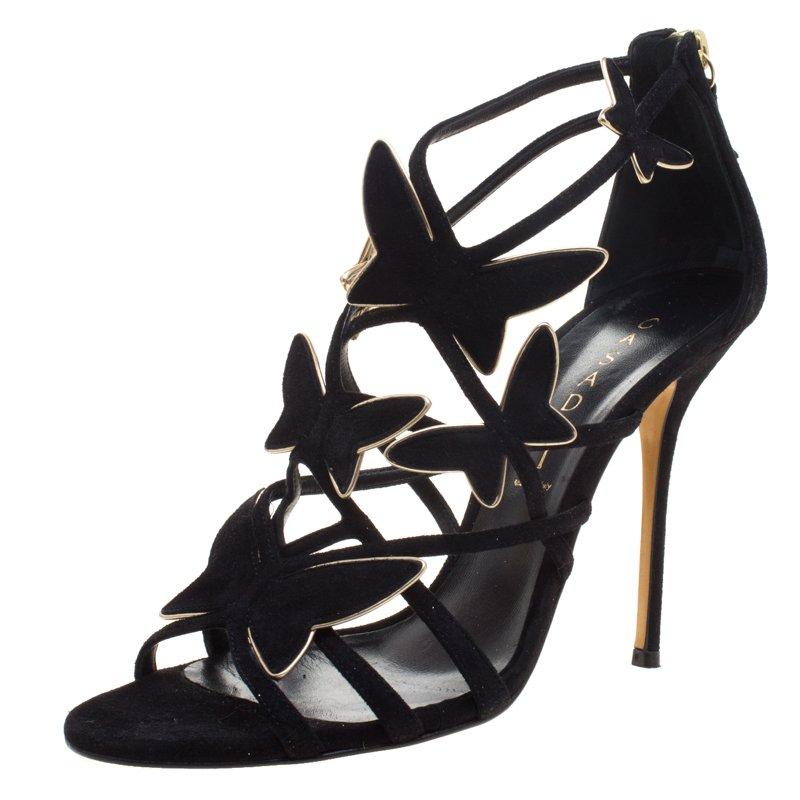 c777b14f40cc ... Casadei Black Suede Camilla Belle Butterfly Strappy Sandals Size 39.  nextprev. prevnext