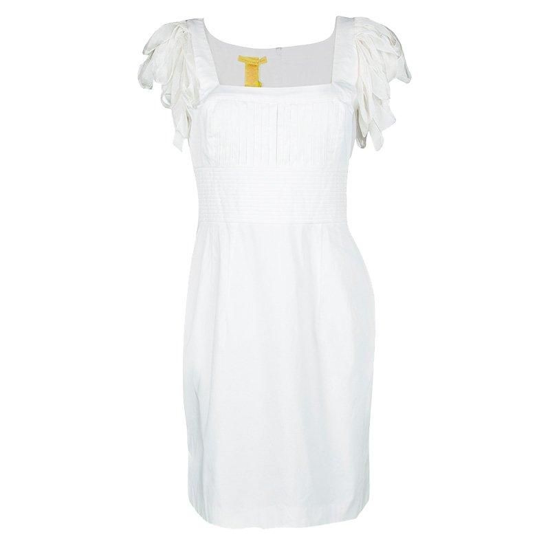 Catherine Malandrino White Pintucked Draped Sleeve Detail Dress M