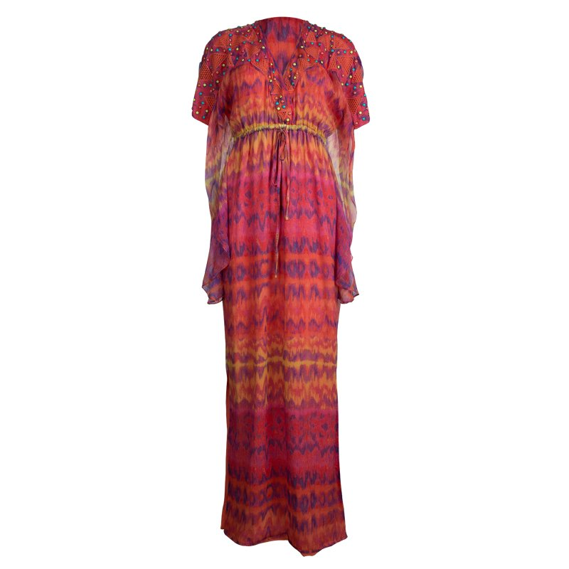 Catherine Malandrino Multicolor Printed Silk Studded Maxi Dress P/XS