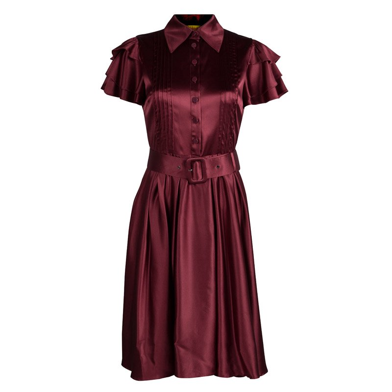 Catherine Malandrino Maroon Silk Belted Shirt Dress S