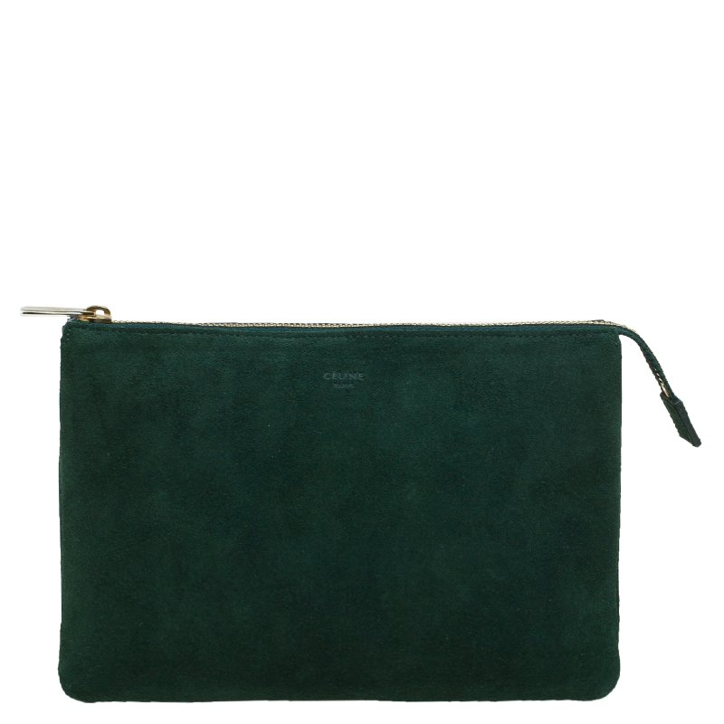 fe6908edc337 Buy Celine Green Suede Solo Trio Cosmetic Pouch 90324 at best price ...