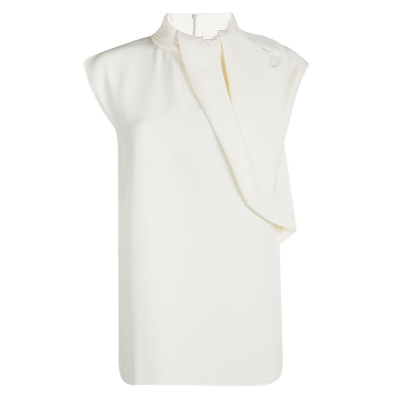 Celine Cream Silk Drape Detail Sleeveless Top M
