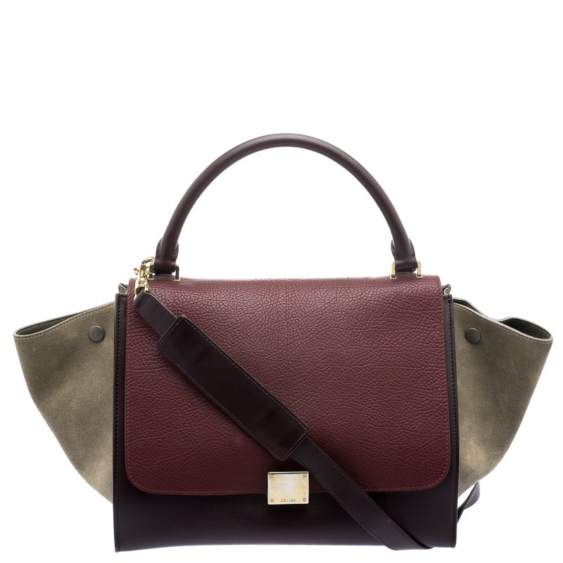 0753362459f9 Buy Celine Tri Color Leather and Suede Medium Trapeze Bag 103202 at ...