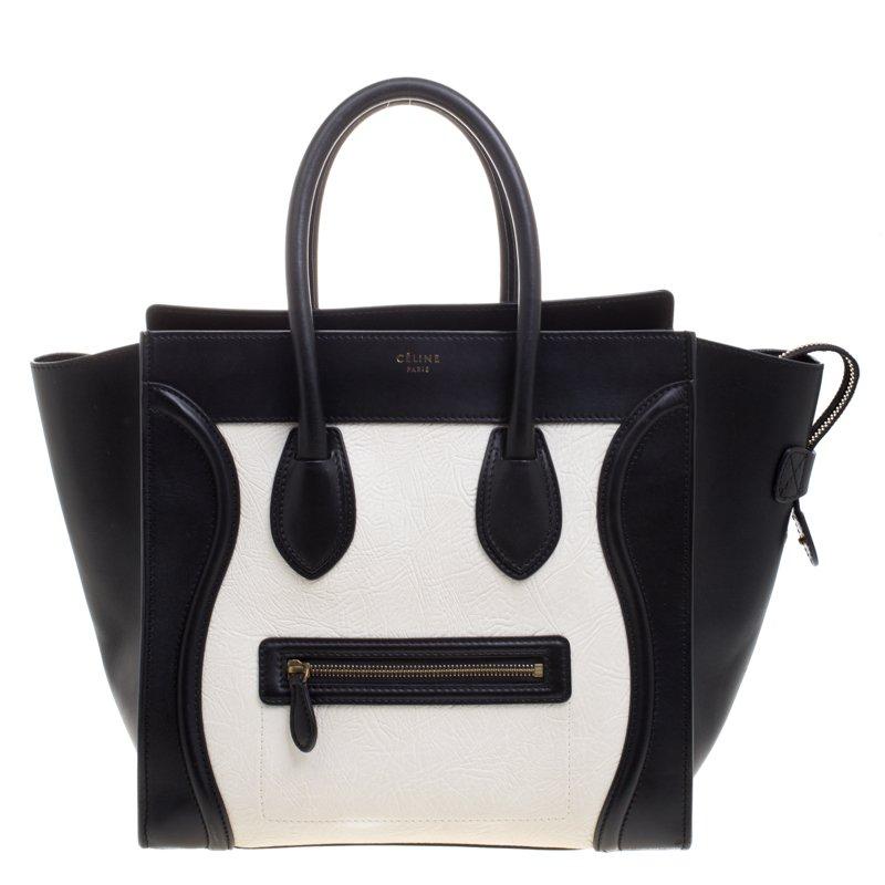 ce4d46ced1 ... Celine Black White Leather Mini Luggage Tote. nextprev. prevnext