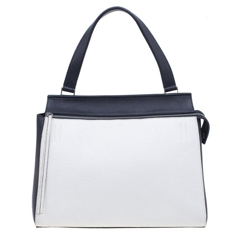Celine Black White Calfskin Leather Edge Shoulder Bag