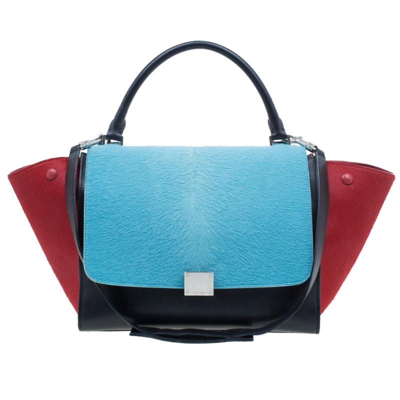 b8a7b90e0e56 ... Celine Tricolor Leather Pony Hair Medium Trapeze Bag. nextprev. prevnext