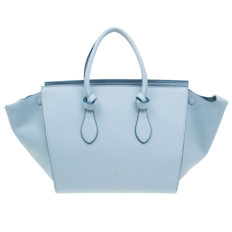 Celine Baby Blue Calfskin Leather Small Tie Tote Bag