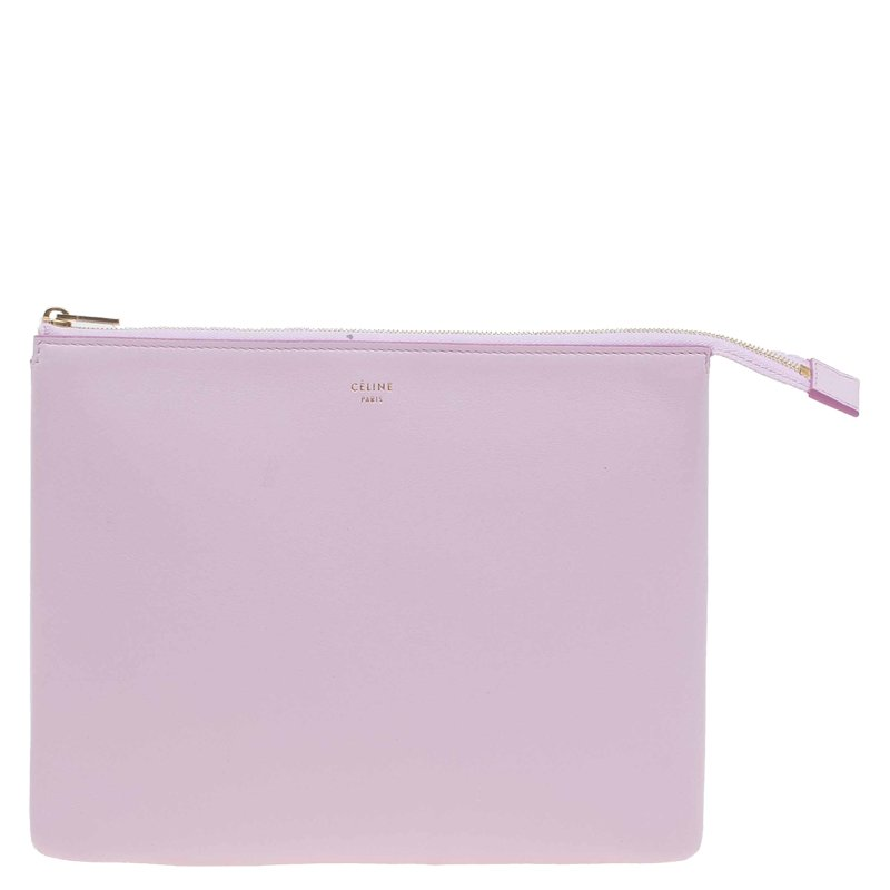 Celine Pink and Orange Leather Duo Cosmetic Pouch