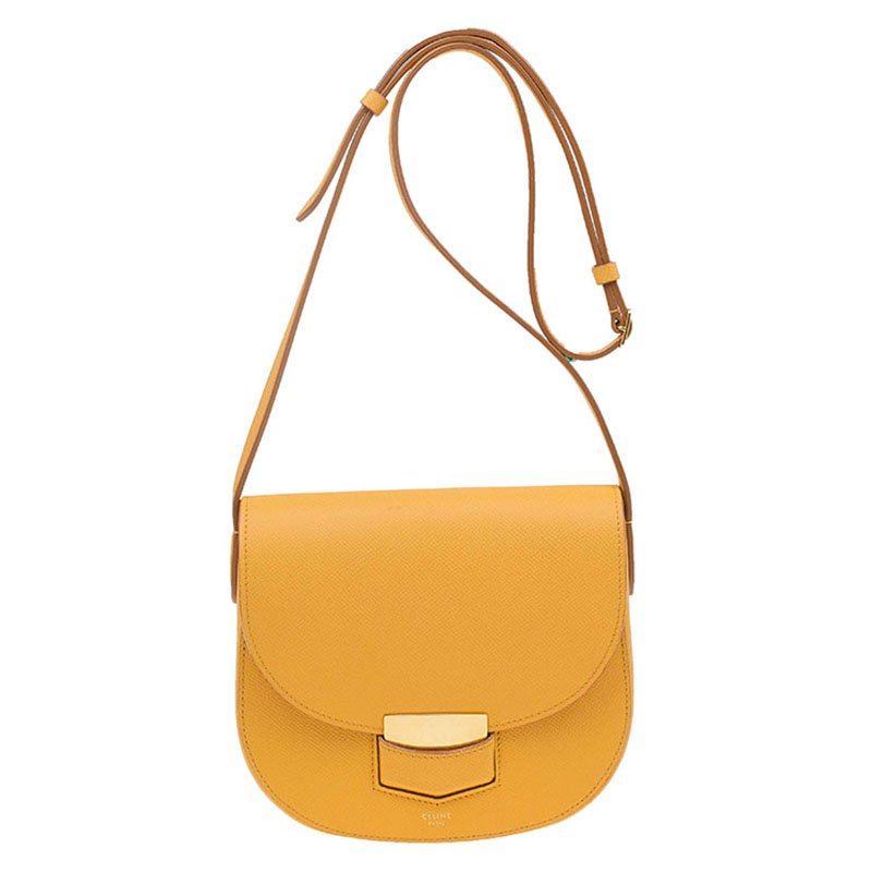 ef422764e8a Celine Yellow Leather Small Trotteur Crossbody Bag