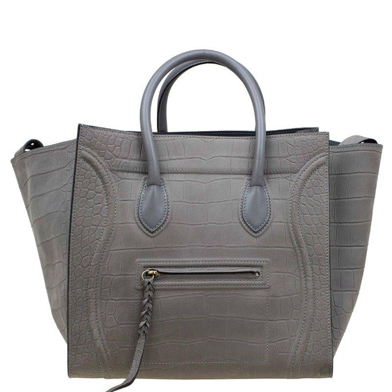 f5563c8ae8 Buy Celine Grey Croc Embossed Leather Large Phantom Luggage Tote ...