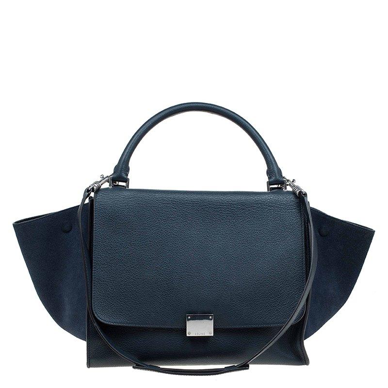 ... Celine Navy Blue Leather and Suede Medium Trapeze Bag. nextprev.  prevnext 2ccf057bca6f0