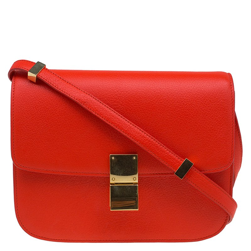 ... Celine Red Orange Leather Medium Classic Box Shoulder Bag. nextprev.  prevnext 8c09b99818fdd