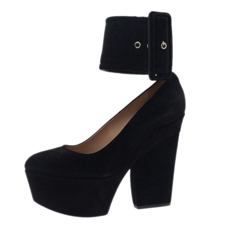 5676792685b Celine Black Suede Ankle Strap Platform Pumps Size 38