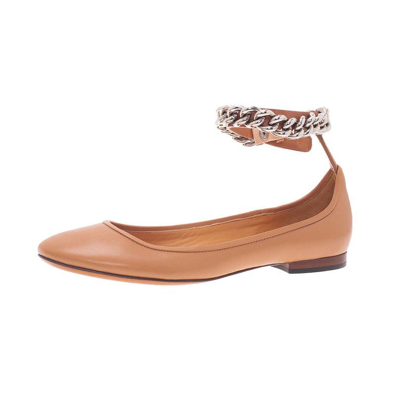 Celine Nude Naturale Leather Chain Strap Ballet Flats Size 38