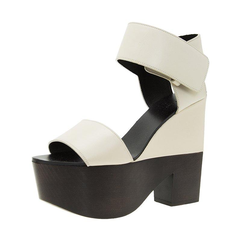 4e84bd9046e Buy Celine Two Tone Leather Platform Ankle Strap Wedge Sandals Size ...