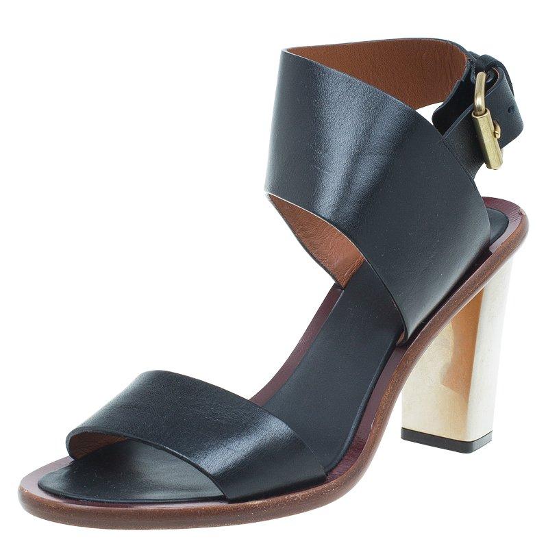 c3e69b0b1a89e ... Celine Black Leather Ankle Strap Metal Heel Sandals Size 38. nextprev.  prevnext