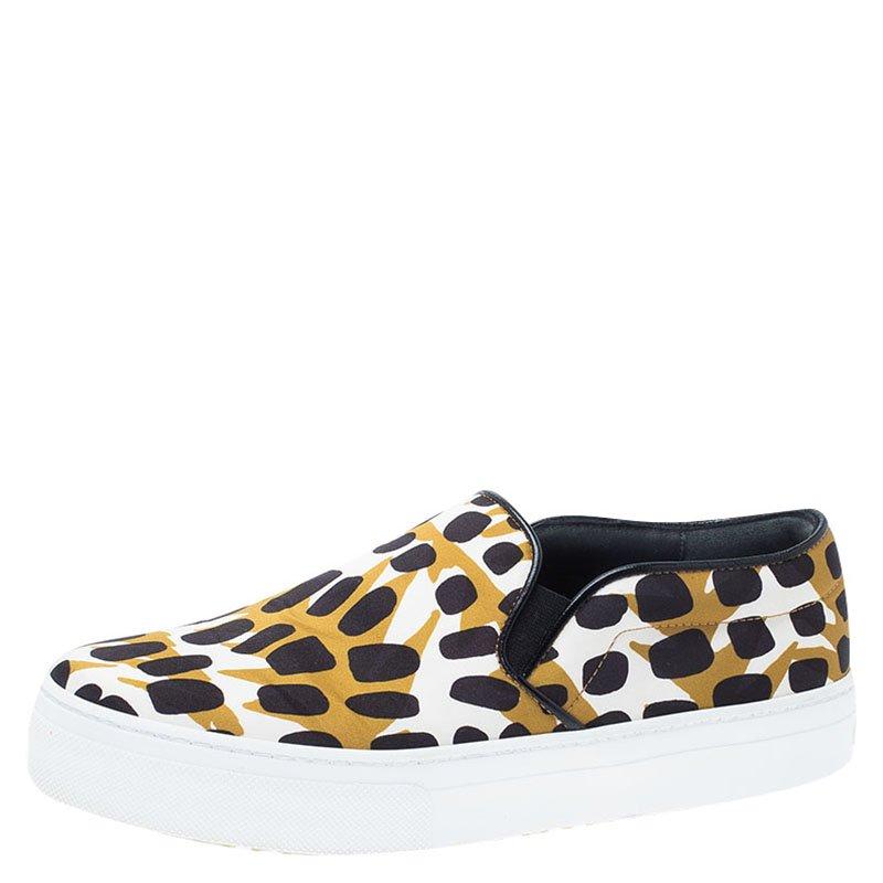Brown 36 Satin On Celine Leopard Slip Size Sneakers Print TOkPZuwiX